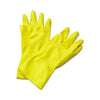 TopMart Flock Premium Reusable Rubber Hand Gloves (Yellow) - 2 Pairs