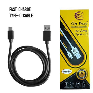 TopMart Regular USB Type-C Cable 2.8 Amp Fast Charging Cabel. Buy One Get One Free- 2Pcs