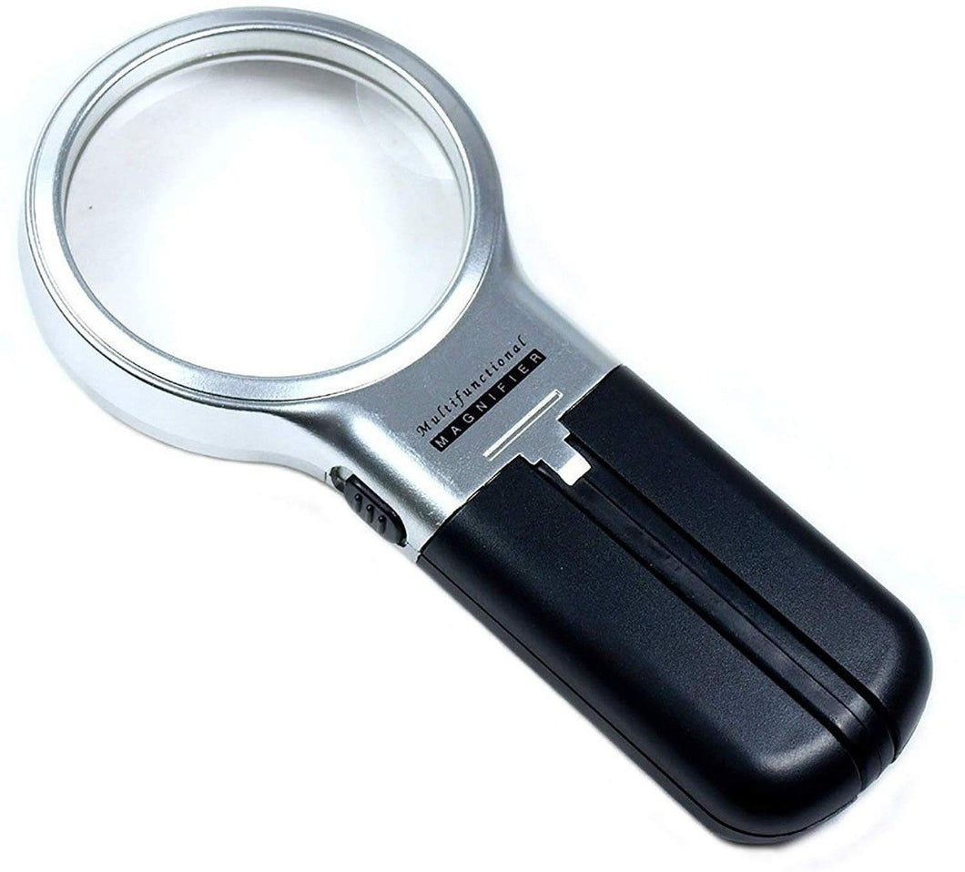 TopMart Multifunctional 3-in-1 Hand-Held Folding Lighted High-Powered Magnifier Glass with 3X Zoom and 2 LED Lights