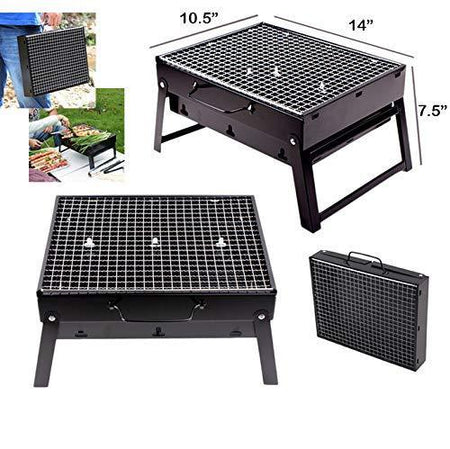 TopMart Folding Barbeque Charcoal Grill Oven (Black, Carbon Steel)