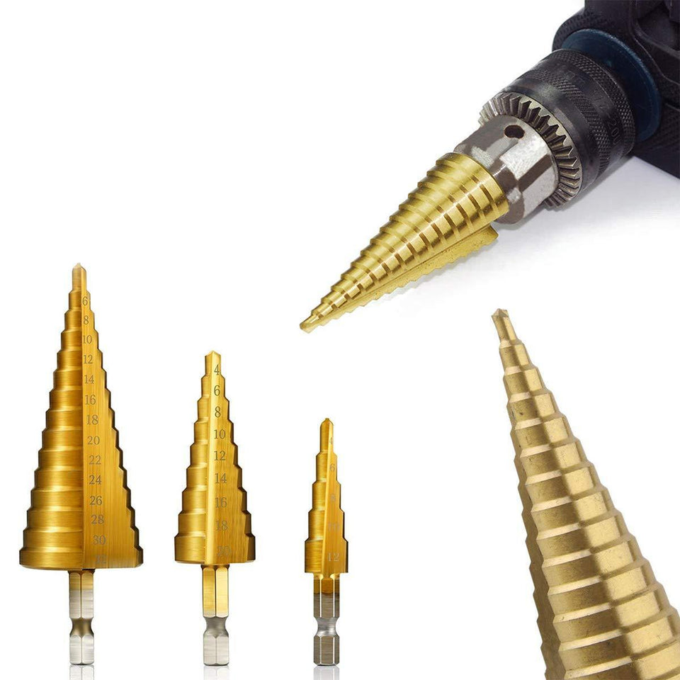 TopMart 3X Large HSS Steel Step Cone Drill Titanium Bit Set Hole Cutter (4-32, 4-20, 4-12mm)