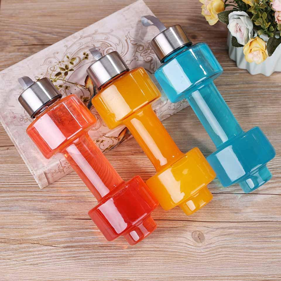 TopMart Steel Cap Plastic water Dumbbells Bottle
