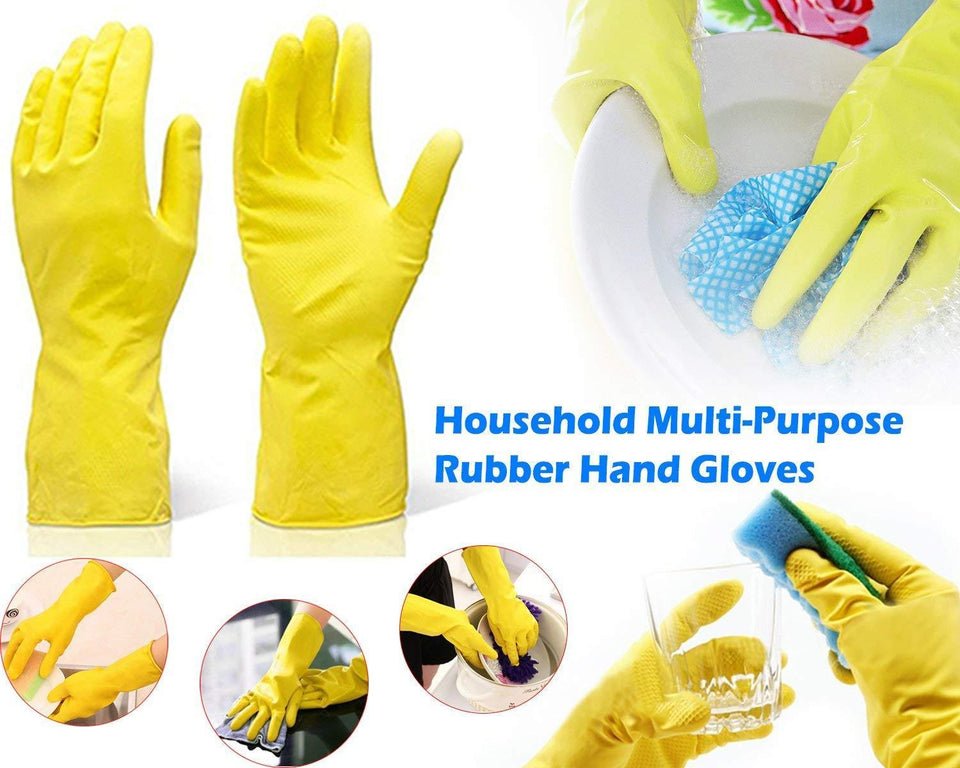 TopMart Flock line Reusable Rubber Hand Gloves (Yellow 2 tone) - 2 Pairs