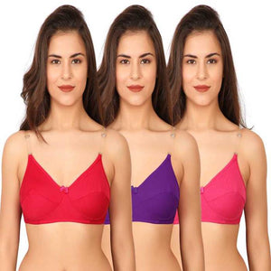 3 Pairs Clear Transparent Back Regular Bras