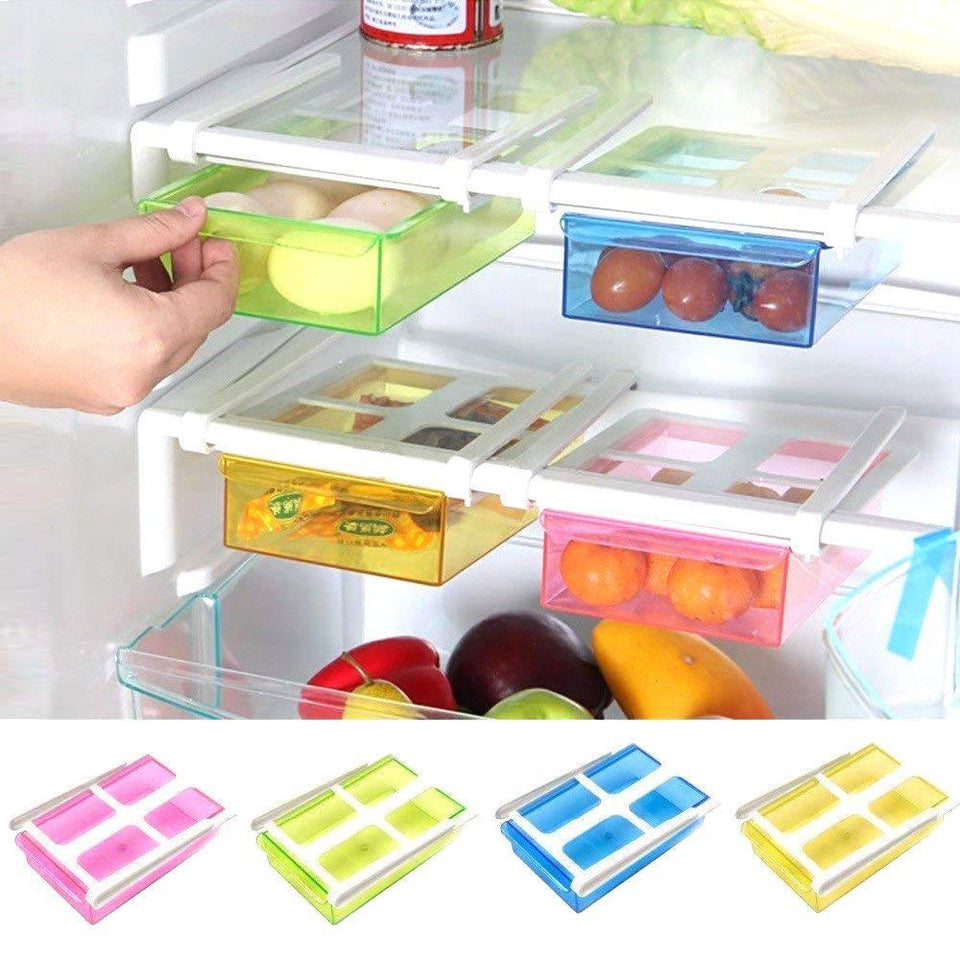 TopMart Fridge Space Saver Storage Sliding Drawer/Shelf (Fridge Storage Box)