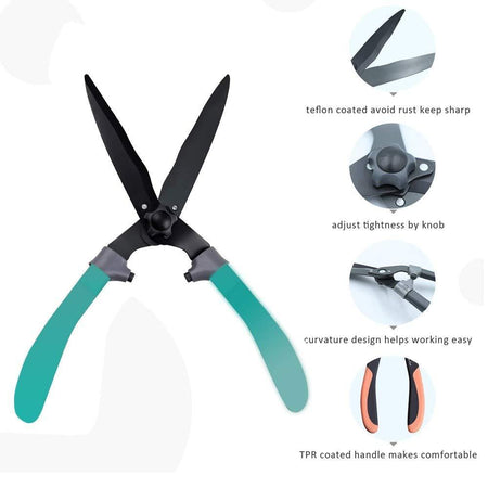 TopMart Ergonomic TPR Handle Hedge Shears, Bush Clipper