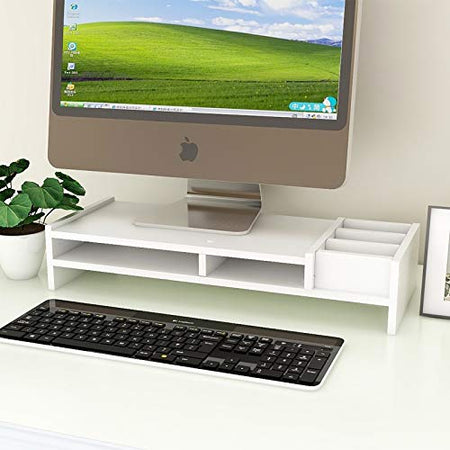 Wood Desk Top Computer Monitor Stand with Stationery Storage Rack