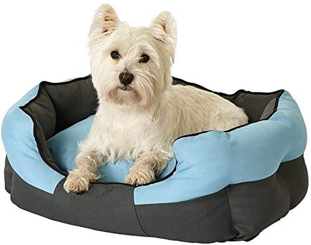 Petsvilla Lavish Super Soft Dog & Cat Bed Black & Sky Blue Color - Small