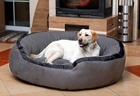 Poofy's Pet Island Round Shaped Luxury Sofa Style Bed with Fiber Poly Fill for XXX-Large Dogs Breed