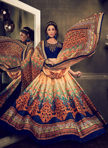 Women's Pretty Circular Lehenga Style in Navy Blue Color With Printed Work Dupatta