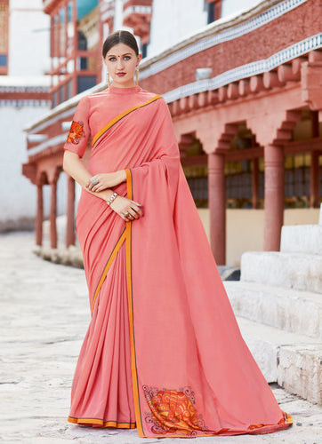 Pink Shahi chiffon Digital Print with lace Border Saree with Blouse