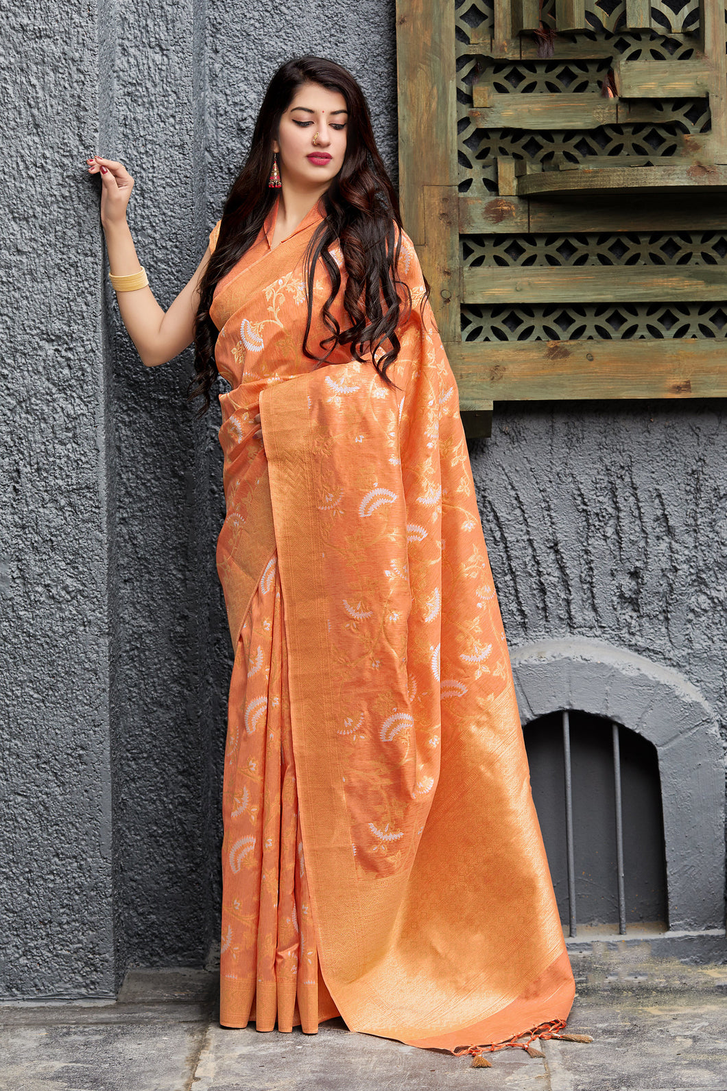 Banarasi Silk Orange Jacquard Woven Saree with Blouse