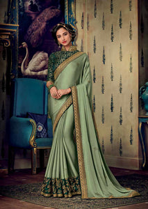 Light Mehendi Satin Georgette Saree Thread and Zari Embroidered Lace Border with Embroidered Blouse