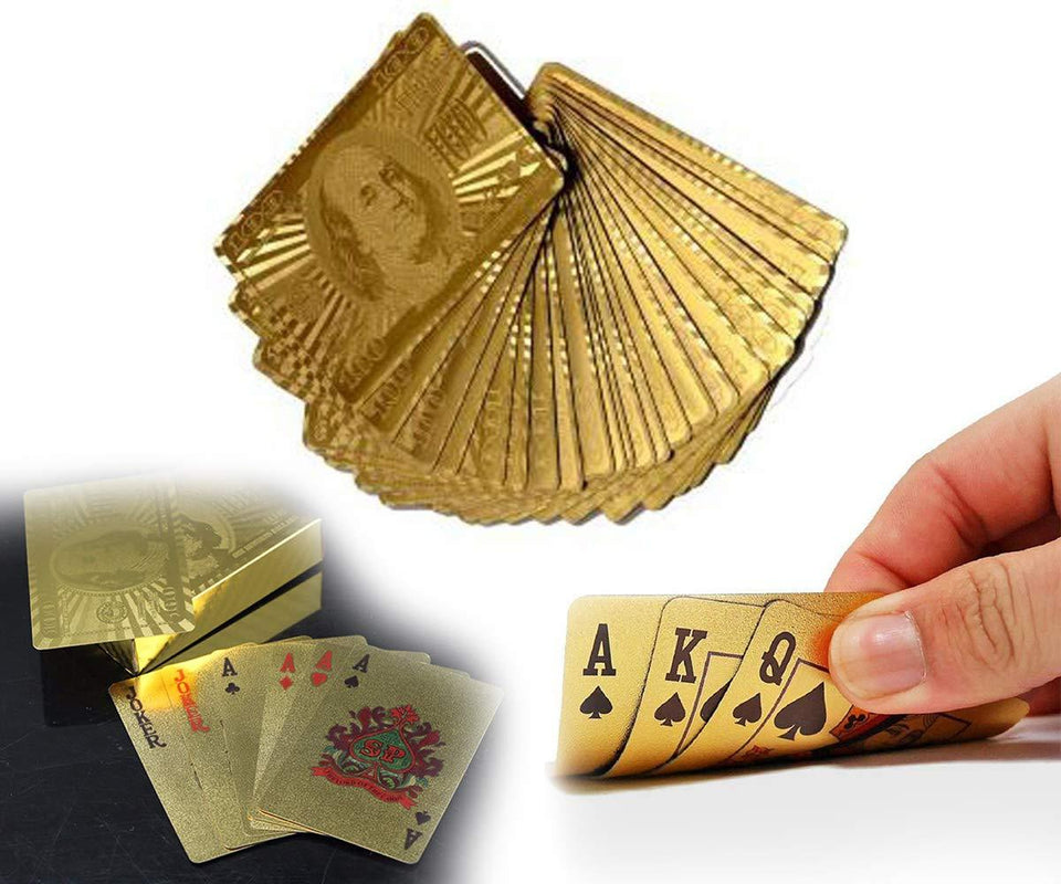 TopMart Gold Plated Poker Playing Cards (Golden)