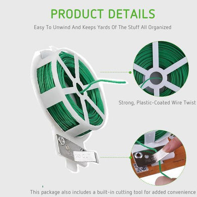 TopMart Plastic Twist Tie Wire Spool With Cutter For Garden Yard Plant 50m (Green)-2 Pcs