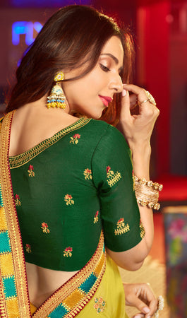 Satin Georgette Lime Color Heavy Thread Embroidered lace work Saree with Embroidered Blouse