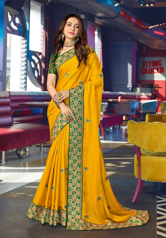 Georgette Yellow Heavy Thread Embroidered lace work Saree with Embroidered Blouse