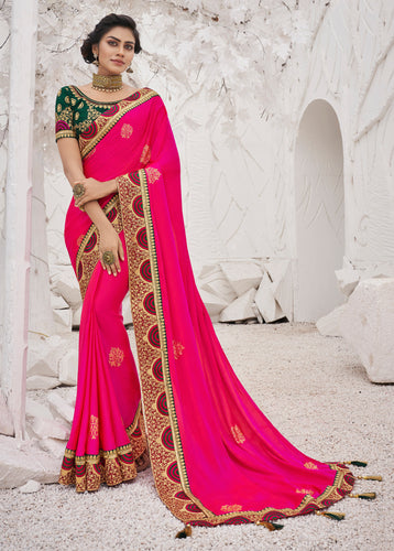Rani Pink Satin Georgette Heavy Thread Embroidered lace work Saree with Embroidered Blouse