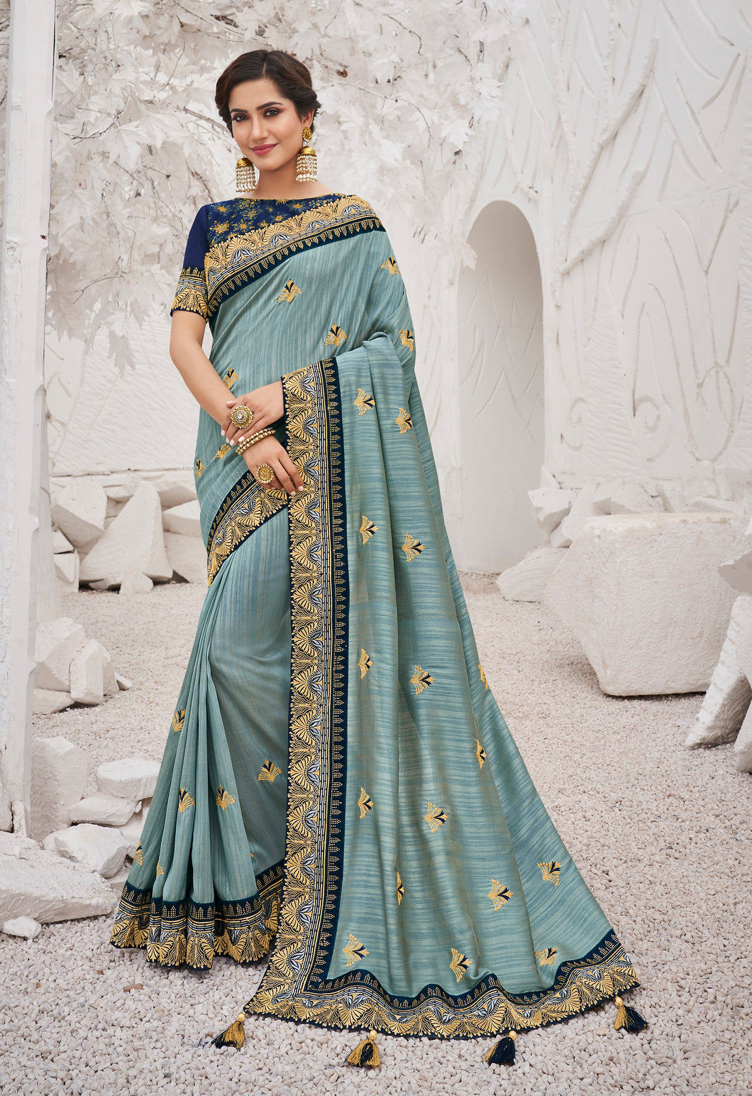 Sky Blue Satin Georgette Heavy Thread Embroidered lace work Saree with Embroidered Blouse