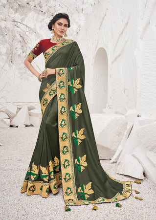 Mehendi Satin Georgette Heavy Thread Embroidered lace work Saree with Embroidered Blouse