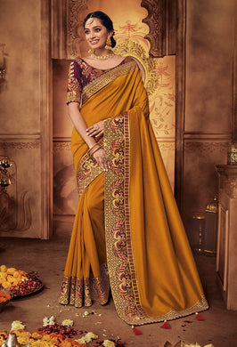 Mustard & Wine Georgette Satin Heavy Thread and Zari Embroidered Lace Work Saree with Embroidered Blouse