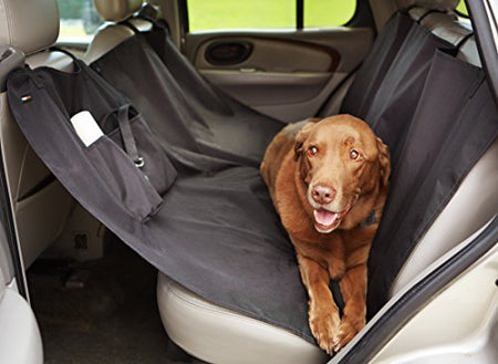 AmazonBasics Waterproof Car Hammock Rear Seat Cover for Pets - 55 x 59 Inches, Black