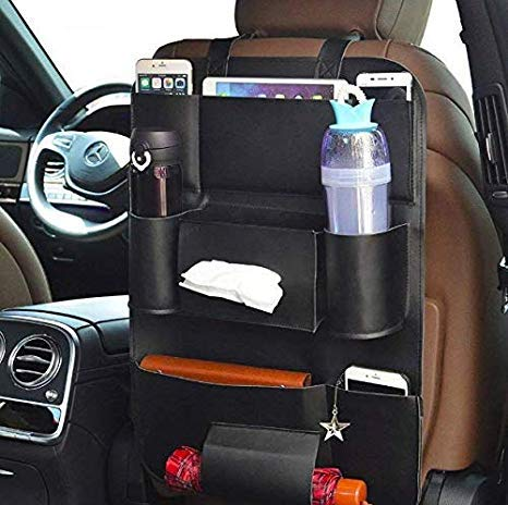 Anva PU Leather Car Back Seat Hanging Organizer Bag Universal Auto Multi-Pocket Pad Cups Car Tissue Bag Storage Organizer Holder Bag Foldable Shelf (Black)
