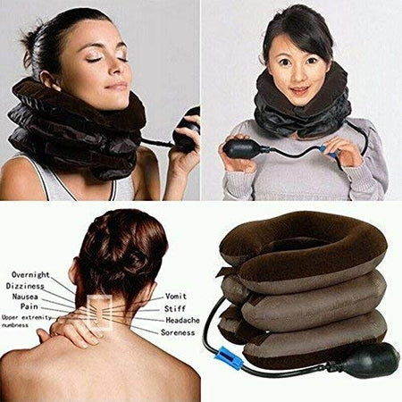 TopMart Cervical Collar Neck Vertebra Traction Massager for Pain Relief Tool,3- Layer Tractor Massager Exerciser for Cervical Spine Neck