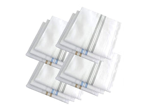 TopMart Men's Cotton Handkerchief (White, 12 pcs)