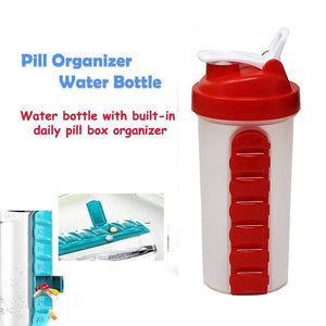 TopMart Pill Box Organizer Weekly Seven Compartments with Drinking Bottle (600ml)