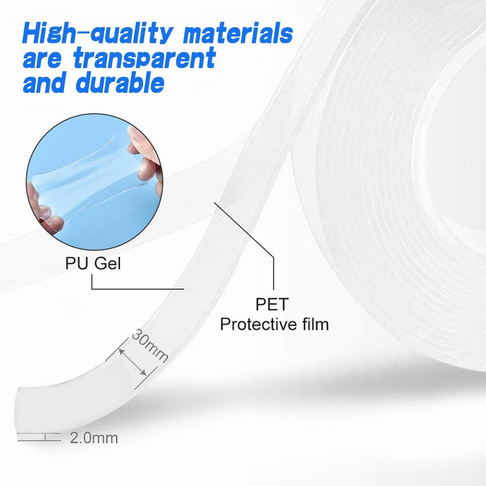 TopMart  Double Sided Nano Adhesive Tape, 5 miter Washable Traceless Nano Gel Tape, Multipurpose