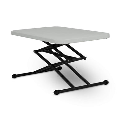 Supreme Scissor Height Adjustable Multi-Purpose Plastic Table for Study, Dining & Outdoor (Folding Table, Rectangular, Grey)