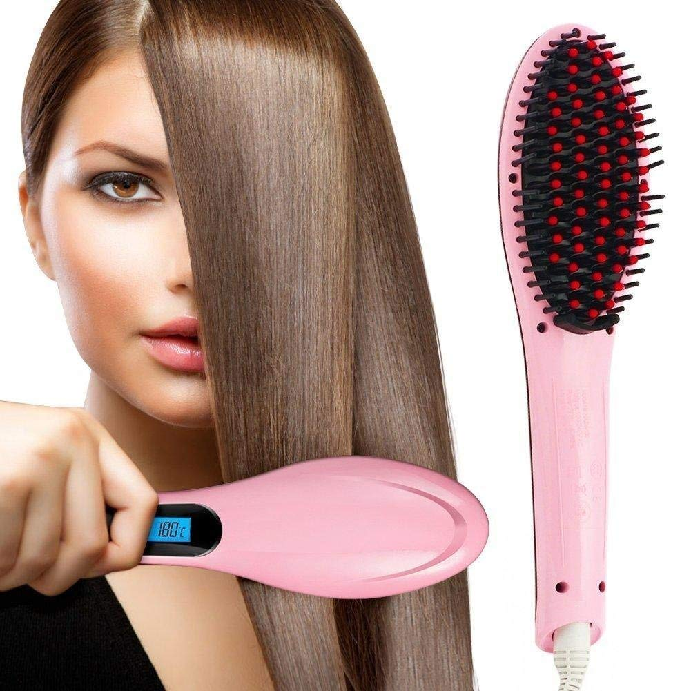 KeepBro Hair Electric Comb Brush 3 in 1 Ceramic Fast Hair Straightener for Women's Hair Straightening Brush with LCD Screen, Temperature Control Display,Hair Straightener for Women (Pink)