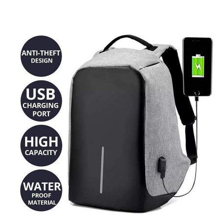 TopMart Anti Theft Smart Grey 15,6 inch Laptop Backpack for Men with USB Charging Port