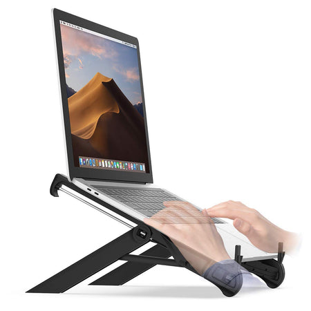 Portable Laptop Stand, Foldable Desktop Light Weight Notebook Holder Mount, Adjustable Eye-Level Ergonomic Height Design Portable Laptop Riser for Notebook Computer PC iPad Tablet
