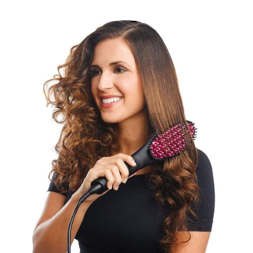 Keepbro Simply Ceramic Straight Hair Straightener Comb Brush - Black