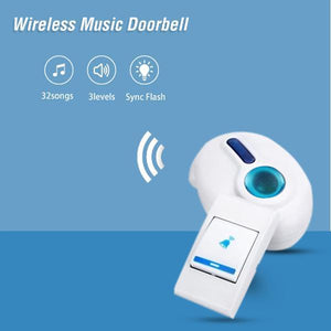 TopMartMusical Sound Cordless Round Doorbell, 32 Melody