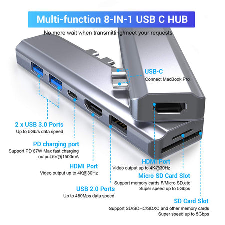 Dual Hdmi USB C Hub Multiport Adapter for MacBook Pro & Air,8-in-1 Type C Hub Docking Station Triple Display with 2 HDMI 4K, PD 100W Charging, 2 USB 3.0, USB 2.0, SD/TF Card Reader