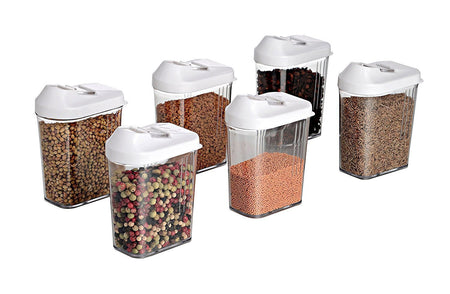 TopMart Plastic Easy Flow Storage Jar with Lid (750ml, Set of 6)