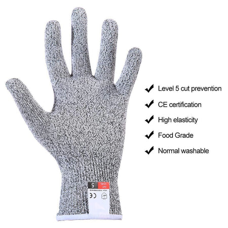 TopMart Level 5 Protection Cut Resistant Gloves (1 pair)