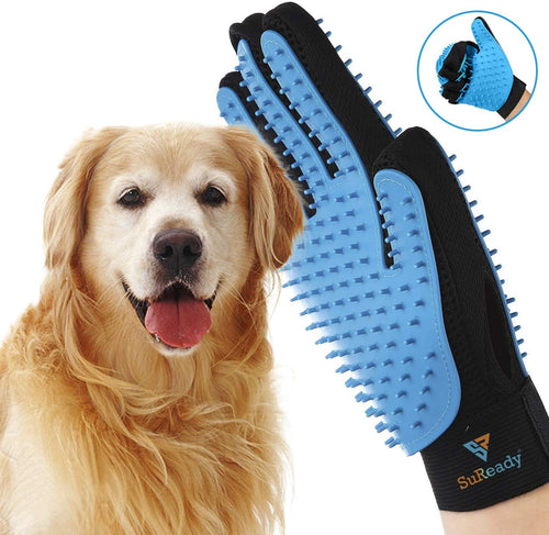SR SUREADY [Newest] Two-Sided Pet Grooming Pet Grooming Gloves - Dog, Cat Bathing Scrubber Gloves - Pet Hair Remover Gloves - Deshedding, Massage for Cats, Dogs, Rabbit and Small Pets (Blue)