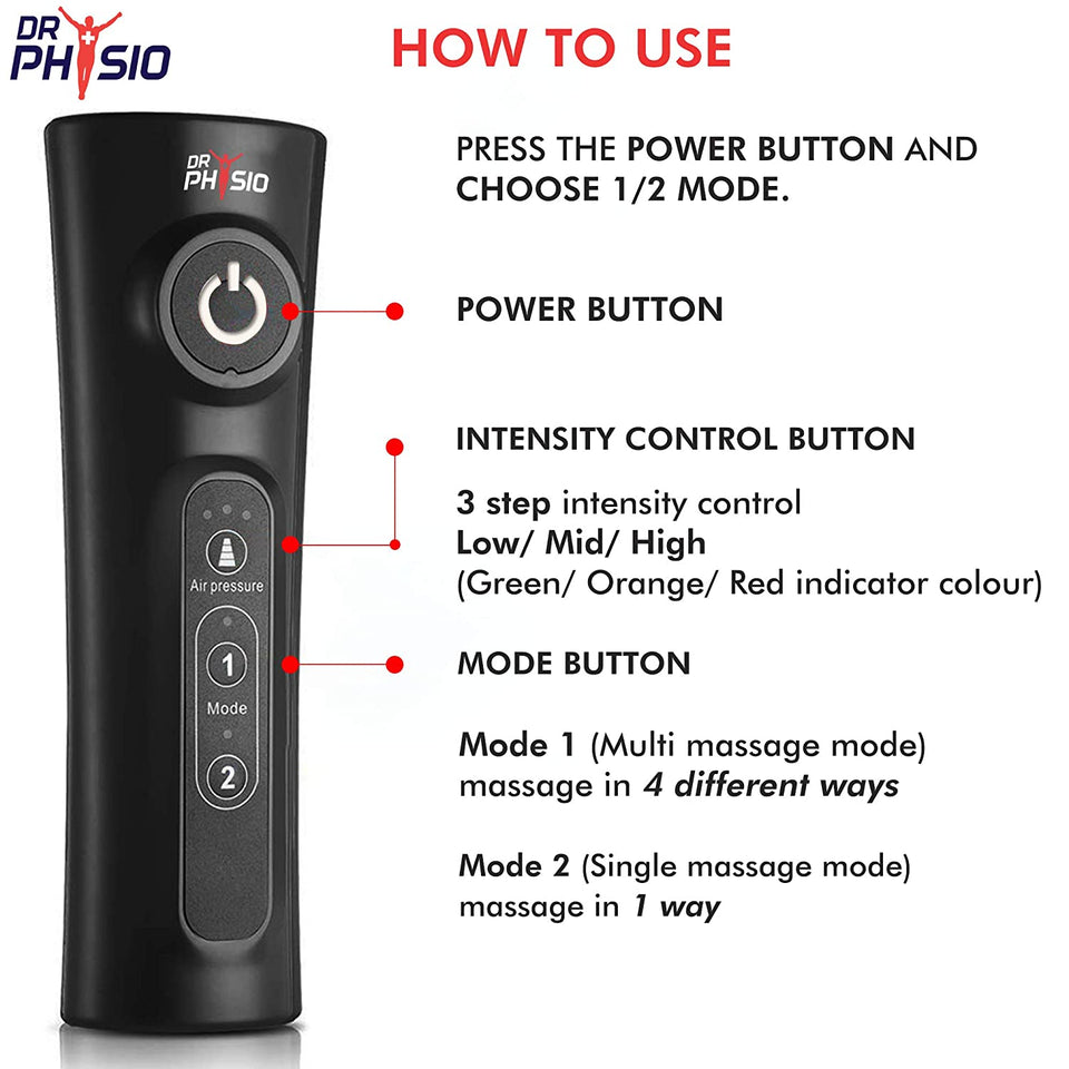 Dr Physio (Usa) Electric Air Compression Blood Circulation Machine Leg Calf Foot Massagers For Body Pain Relief Massager (Black)