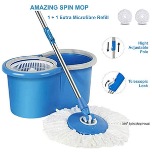 Sasimo Spin Mop with Easy Wheels and Bucket for Magic 360 Degree Cleaning with 2 Refills (Assorted Colour)