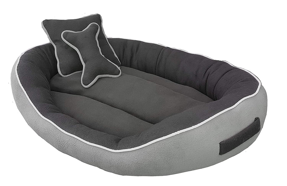 PetsHub's Elite Dog/CAT Bed Ultra Soft Grey & Black Reversible with 2 Extra Pillows (Export Quality)-Small