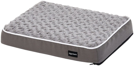 AmazonBasics Ergonomic Foam Pet Dog Bed - 15 x 20 Inches, Grey
