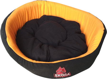 Skora Imported Round Shape Pet Bed for Dog (Small |Medium |Large)|Black and Orange Color
