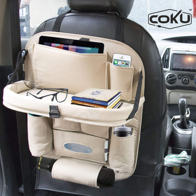Coku Universal Car Back Seat Organizer with Foldable Food Table Tray PU Leather Multi Pocket Backseat Storage with Tissue Box, Bottle, Tablet and Mobile Holder (BEIGE)