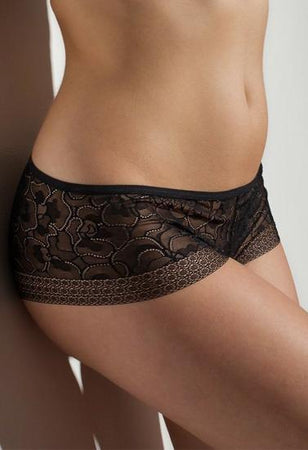 Body Mystic Black Sexy Thin Fishnet Lace Boyshort + 1 Free Bra
