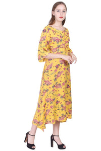 Rayon Flared Printed Dress