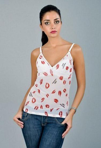 D&G White With Lips Print Camisole